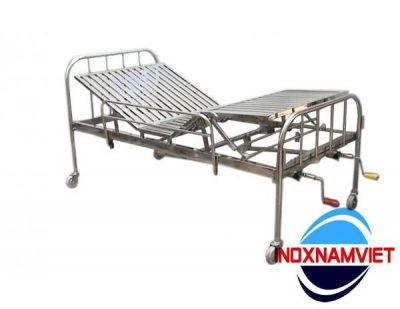 Giường bệnh nhân inox 2 tay quay